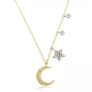 Meira T Moon and Star Diamond Necklace