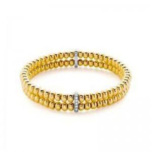 Hulchi Belluni Gold Double Diamond Bead Bracelet