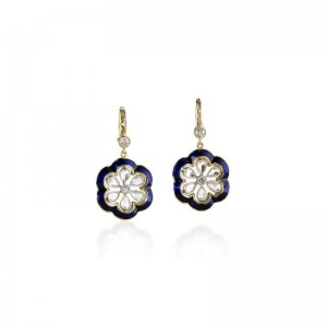John Apel Diamond & Enamel Flower Earrings