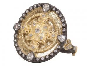 Armenta Heraldry Small Oval Shield Ring