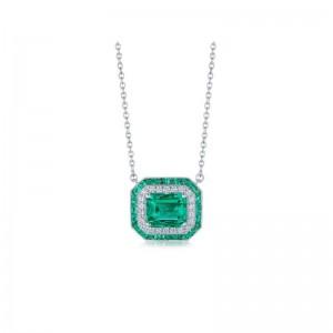 Kwiat Colombian Emerald Pendant with Double Halo
