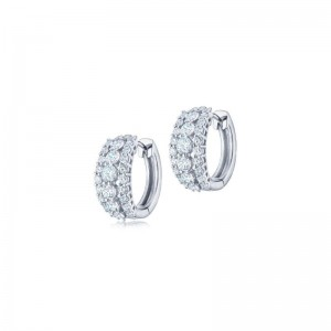 Kwiat Eclipse Three Row Round Diamond Huggie Earrings