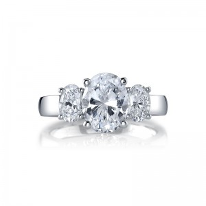 Deutsch Signature Oval Cut  3-Stone Rings Semi Mount