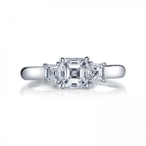 Deutsch Signature Asscher Cut  3-Stone Rings Semi Mount