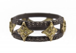Armenta Old World Blackened Sterling Silver Double Cravelli Wide Band