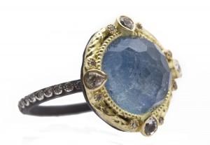 Armenta Round Midnight Ring With Kyanite/Quartz