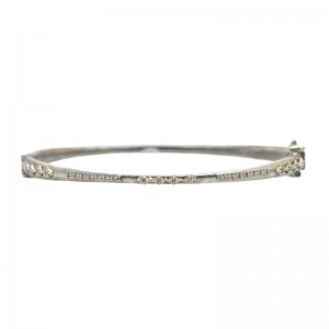 New World Sterling Silver Huggie Hinged Bracelet With Crivelli And Pave Champagne Diamonds