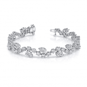 Norman Silverman Pear And Round Diamond Bracelet