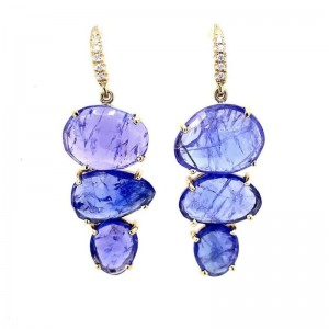 Lauren K Joyce Tanzanite 3 Stone Earrings