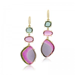 Lauren K Watermelon Tourmaline Earrings
