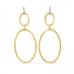 Rudolf Friedmann Gold Diamond Drop Earrings
