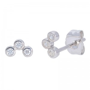 Deutsch Signature 3 Diamond Bezel Set Studs