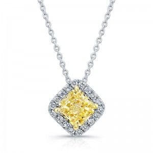 Norman Silverman Fancy Yellow Diamond and White Diamond Pendant