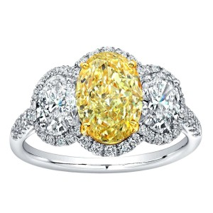 Norman Silverman Yellow And White Oval Diamond Engagement Ring