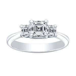 Norman Silverman Thre Stone Asscher Diamond Engagement Ring