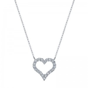 Deutsch Signature Shared Prong Round Diamond Heart Pendant