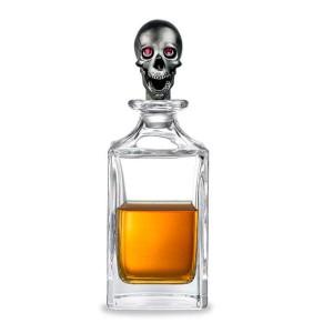 Deakin & Francis Matt Black Skull Head Crystal Decanter