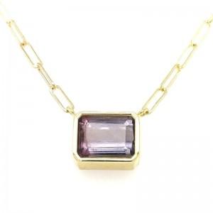 Lauren K Emerald Cut Purple Tourmaline Bea Necklace