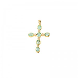 John Apel Cross Pendant with Green Tourmaline