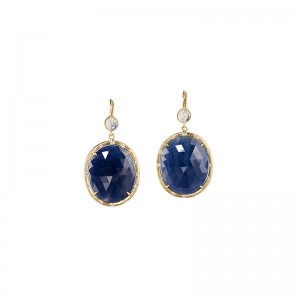 John Apel Sapphire and Diamond Drop Earrings
