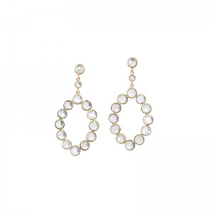 John Apel Bezel Set Moonstone Drop Earrings