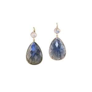 John Apel Bezel Set Labradorite Earrings
