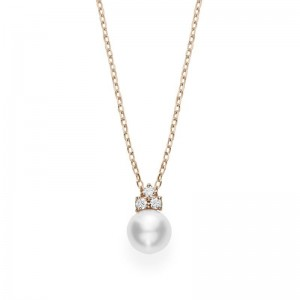 Pendant Akoya A+ 7.75mm(1) Diamond 0.08ct(3) 18KPG 18