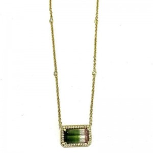 Lauren K Layla Emerald Cut Watermelon Tourmaline Necklace