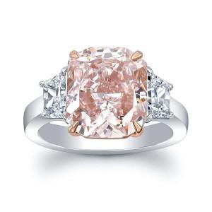 Norman Silverman Pink Cushion Cut Diamond Engagement Ring