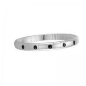 White Ceramic Stretch Bracelet with 5 Alternating Black Diamond Bezels