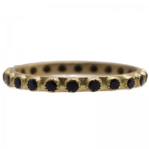 Sueno Stack Band Ring Set With Black Sapphires