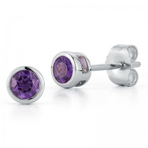 Deutsch Signature Bezel Amethyst Stud Earrings