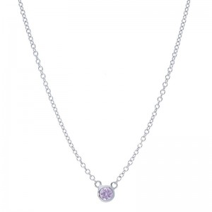 Deutsch Signature Single Pink Sapphire Bezel  Necklace