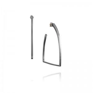 Vincent Peach Sterling Silver Stirrup Hoop Earrings