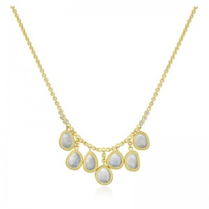 Lauren K Rose Cut Aquamarine Carly Fringe Necklace