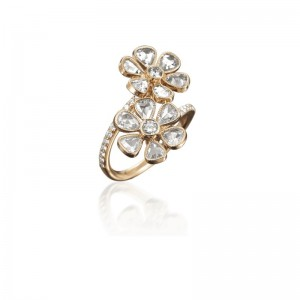 John Apel Rose Gold Diamond Flower Ring