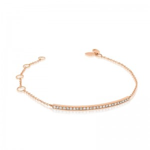 Meira T Rose Gold Diamond Bar Bracelet