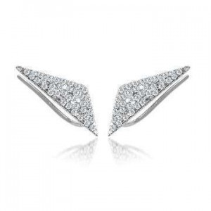 Meira T Pave Diamond Triangle Ear Climbers