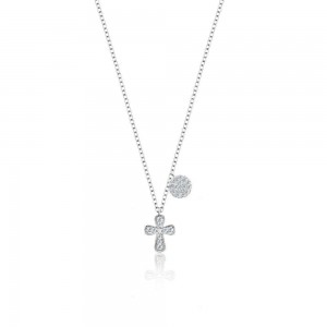 Meira T Diamond Cross Necklace with Diamond Disk