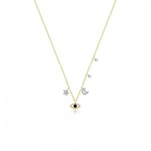 Meira T Dainty Moon Star and Eye Charm Necklace