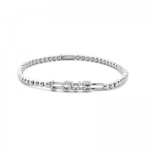 Hulchi Belluni 18k white gold & diamond Tresore Love Bracelet