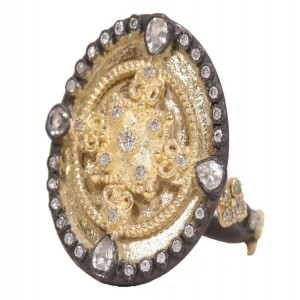 Armenta Heraldry Small Oval Shield Ring