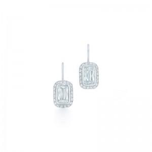 Kwiat Ashoka Bezel Set Silhouette Diamond Earrings, 1 Carat Each Center Diamond