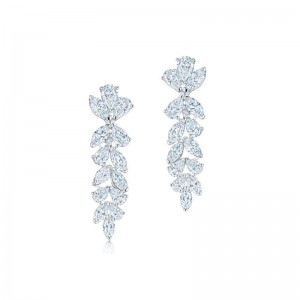 Kwiat American Beauty Pear Shape and Marquise Hanging Diamond Earrings
