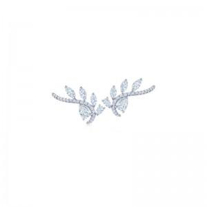 Kwiat Vine Diamond Five-Leaf Climber Earrings