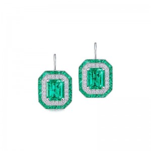 Kwiat Colombian Emerald Earrings with Double Halo Emerald Cut Drops