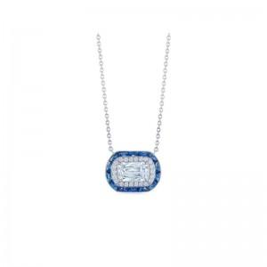 Kwiat Ashoka Diamond and Calibre Sapphire Halo Pendant, 1 Carat Center Diamond