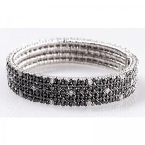 4 Row Black Diamond and Diamond Spot Stretch Bracelet