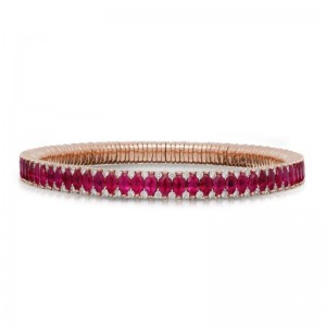 2 Row Ruby Marquise and Diamond Stretch Bracelet
