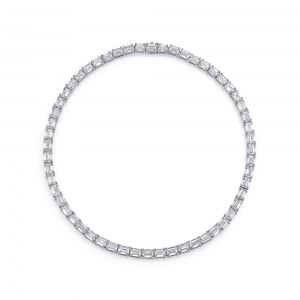 Norman Silverman Emerald East West Diamond Necklace